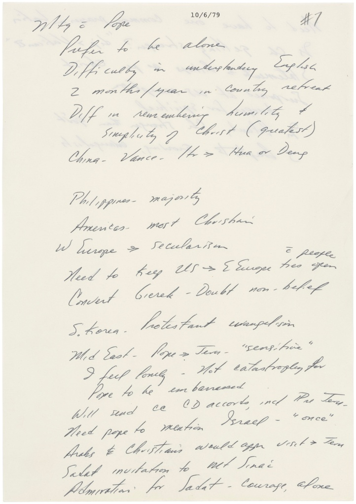 President Jimmy Carter's Handwritten Notes on Meeting with Pope John Paul II, October 6, 1979. (National Archives Identifier 6207614)