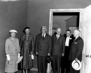 Photograph of Bess Wallace Truman, Eleanor Roosevelt, Earl Warren, Herbert Hoover, Basil O'Connor and Harry S. Truman at the Dedication of the Harry S. Truman Library, 7/6/1957. (Harry S. Truman Library)