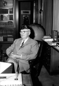 Photograph of Harry S. Truman in his Office at the Truman Library, July 1961. (National Archives Identifier 6233777)