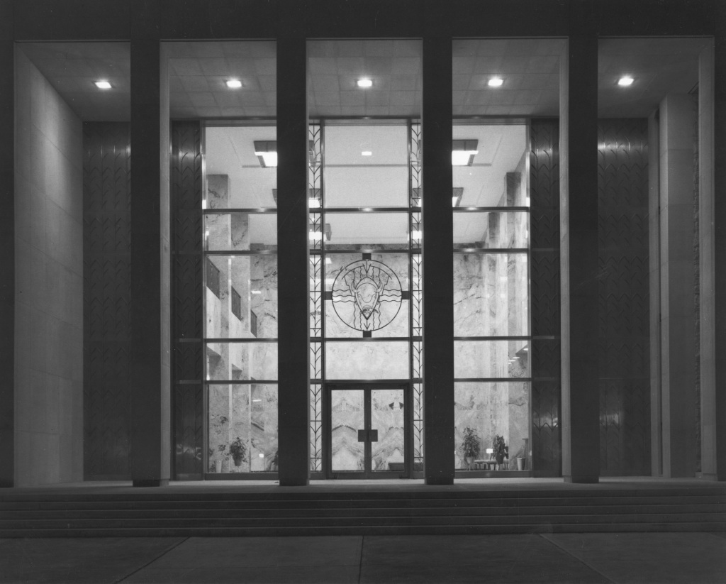 Photograph of Eisenhower Library Abilene, Kansas at night, ca. 1962. (National Archives Identifier 12170296)