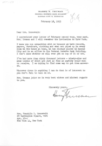 Letter from Harry S. Truman to Eleanor Roosevelt, February 18, 1953 (National Archives Identifier 4708859)