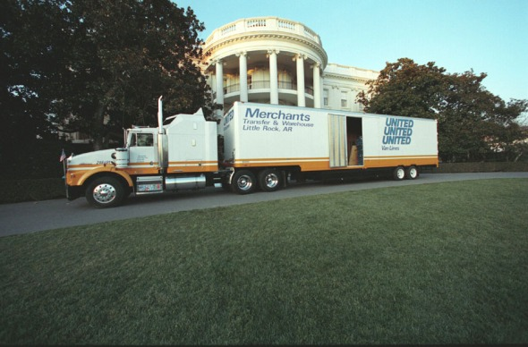 Moving van outside the White House on January 20, 1993. (Clinton Presidential Library, National Archives).