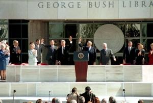 Dedication of the George Bush Presidential Library and Museum, November 6, 1997. (George Bush Presidential Library and Museum, National Archives)