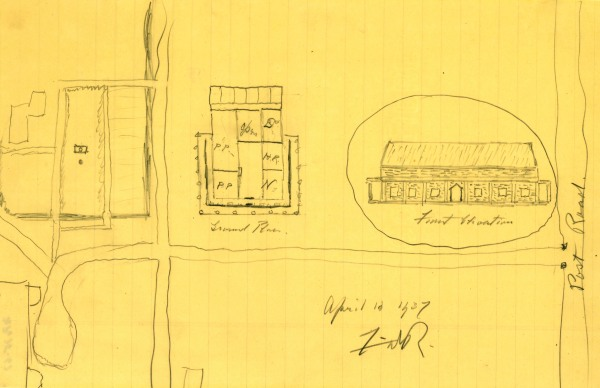 FDR's sketch of his vision for a presidential library at his home in Hyde Park, NY, April 12, 1937. (FDR LIbrary)