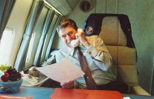 President Reagan Talking on Telephone in his State Room on a Trip to Nevada Aboard Air Force One, June, 25, 1986. (Ronald Reagan Presidential Library and Museum, National Archives)