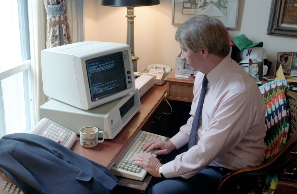 Press Secretary Larry Speakes Working at a Computer in his Office