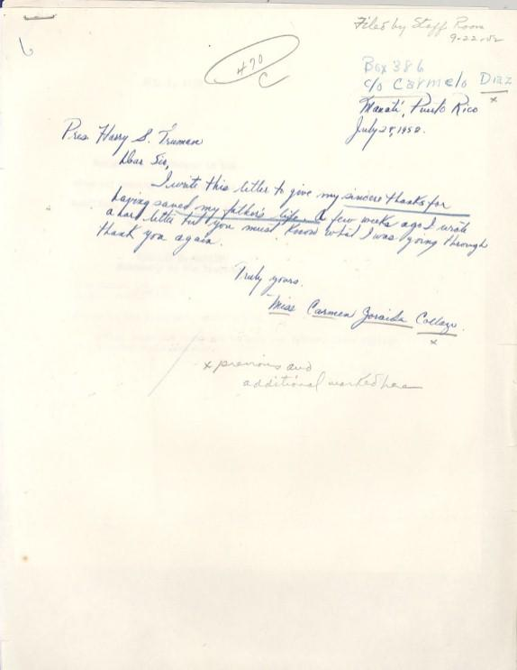 Collazo's daughter's letter to Truman thanking him for sparing her father's life, July 25, 1952. (Harry S. Truman Library & Museum, National Archives)