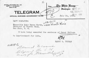 The telegram giving orders to the Governor of Puerto Rico to commute Collazo's death sentence, July 24, 1952. (Truman Library & Museum, National Archives)
