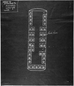 Diagram of the bus showing where Rosa Parks was seated. (National Archives Identifier 596069)