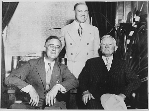 Photograph of President Franklin D. Roosevelt, Secretary of War Harry Woodring, and John N. Garner, September 14,1932. (FDR Presidential Library, National Archives)