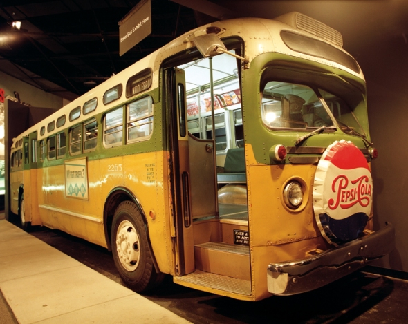 A recreation of the bus Rosa Parks rode the day of her protest. (National Archives Identifier 7718884)