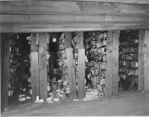 Photograph of War Department Files Located on the Third Floor Ramp in White House Garage, August 26, 1935. (National Archives Identifier 18519624)