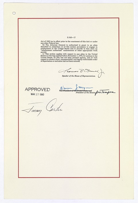 "Signature page of ""A bill to amend the Immigration and Nationality Act to revise the procedures for the admission of refugees, to amend the Migration and Refugee Assistance Act of 1962 to establish a more uniform basis for the provision of assistance to refugees, and for other purposes,"" (Public Law 96-212—The Refugee Act of 1980), approved March 17, 1980 National Archives, General Records of the U.S. Government"