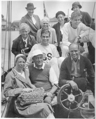 "President Franklin D. Roosevelt aboard the ""Amberjack II"" with Eleanor, James, Franklin, Jr., John, Nancy Cook, Frances Keller, Mary E. Dreier, Marian Dickerman and Antonia Hatvany before starting cruise to Campobello, June 16-29, 1933."