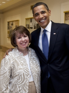 Adrienne Thomas with President Obama
