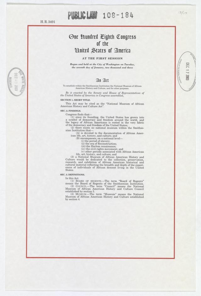 NMAAHC Act pg 1