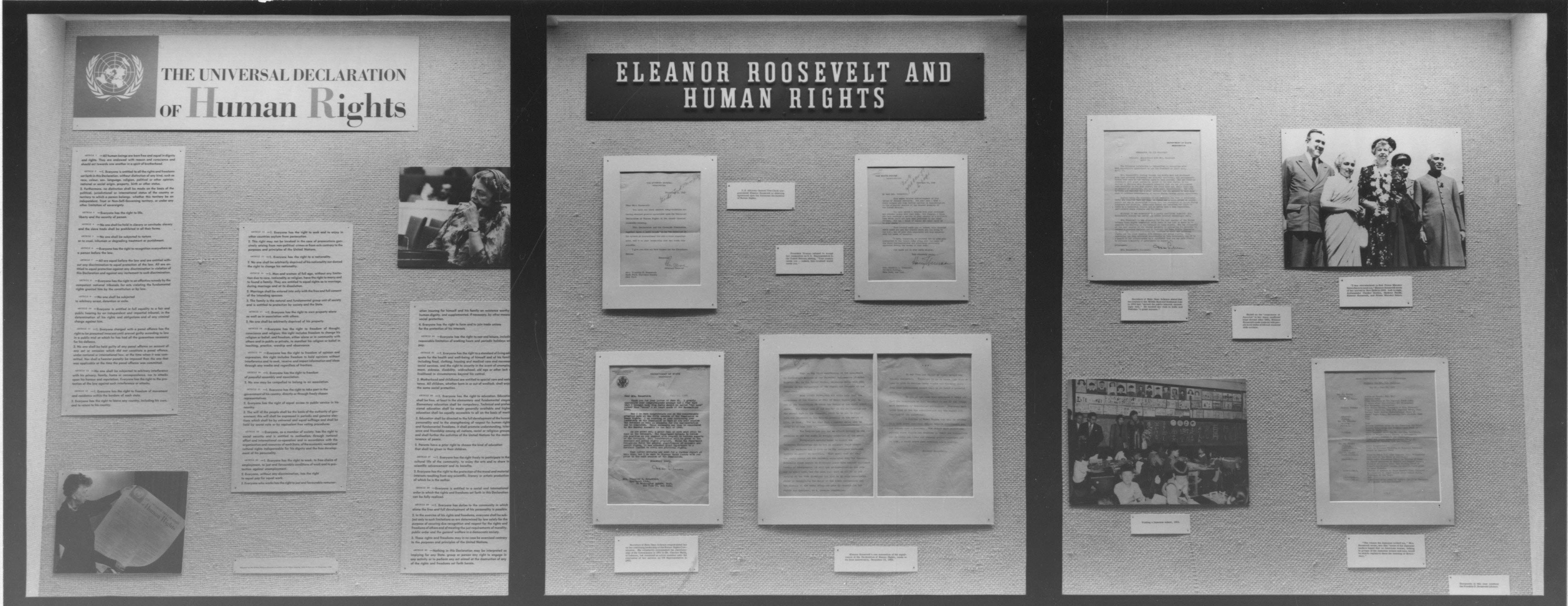human rights for all pieces of history eleanor roosevelt and human rights exhibit case three 10 1963 national archives identifier 12170776