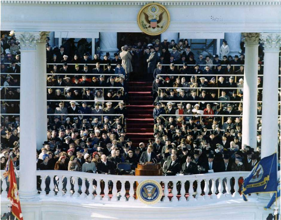 John F. Kennedy delivers his Inaugural Address during ceremonies at the Capitol. January 20, 1961. From the John F. Kennedy Presidential Library.