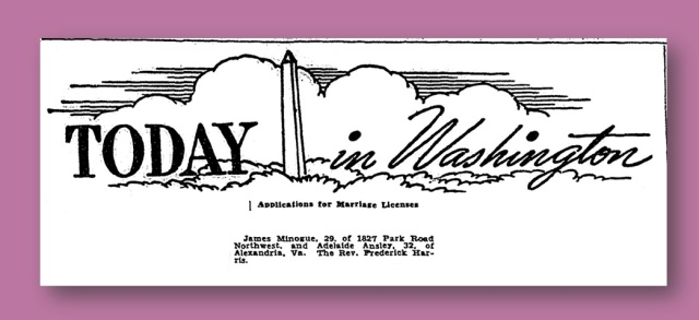 Announcement of Minogue Marriage License - Washington Post, June 4, 1942