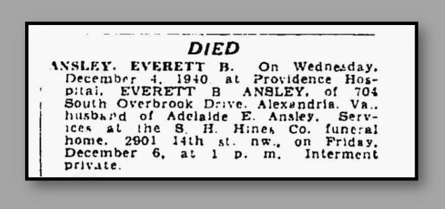 Everett Ansley obituary, Washington Post, Dec. 1940