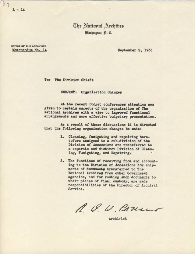 RG 64, A1 9 - Memo A-14 Organization Changes, Sept. 9, 1935
