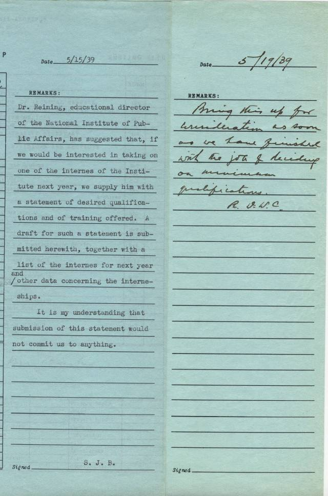 Buck Note and Connor Response to NIPA Intern Proposal, May 1939 - RG 64, A1 1, file 77.6 Internships, box 40