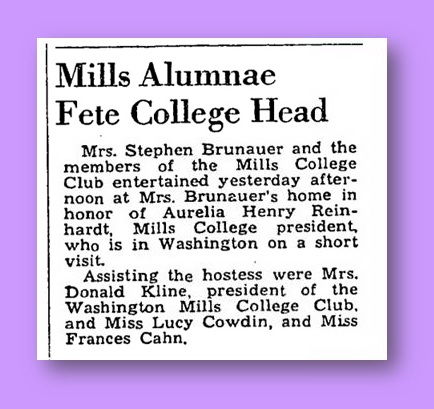 Cowdin Hosts Mills College President - Wash. Post, March 3, 1941, p. 10
