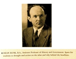 Dean Rusk at Mills College, 1939
