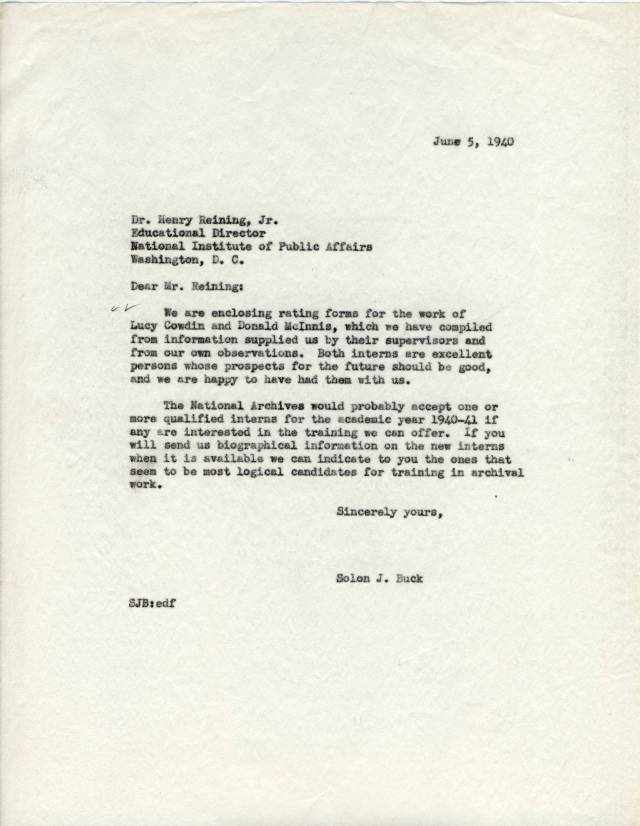 Glowing Report on Cowdin and McInnis, June 1940 - RG 64, P 43, file Training - Internes - Proposed Archival Curriculum