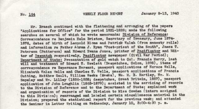 Julia Bland Report, Jan. 8-13, 1940 - RG 64, P 161, file Weekly Floor Reports