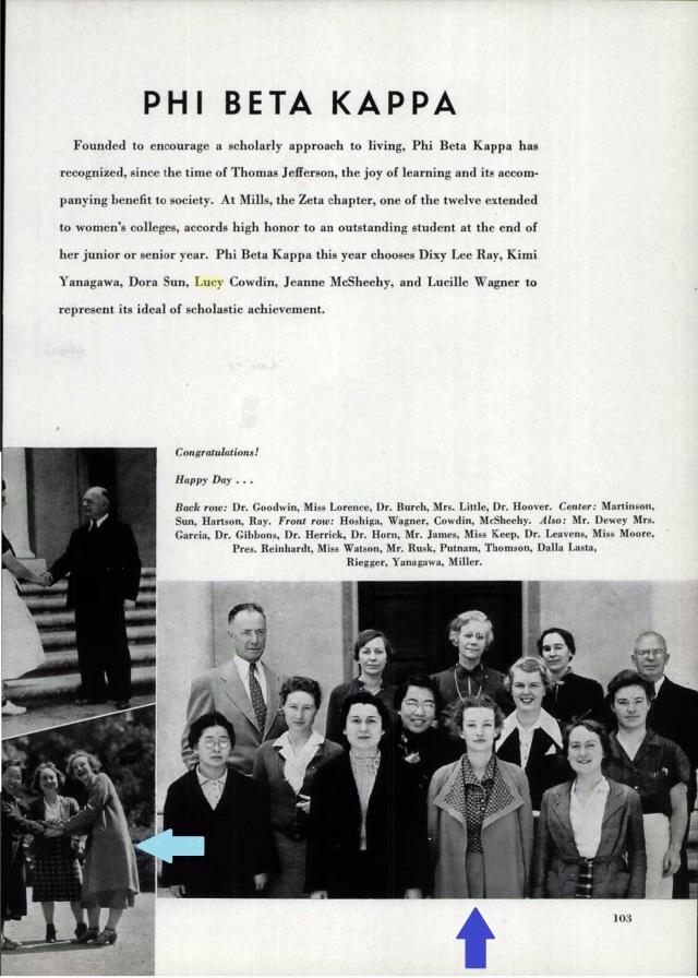 Lucy Cowdin Awarded Phi Beta Kappa - Mills College, 1937