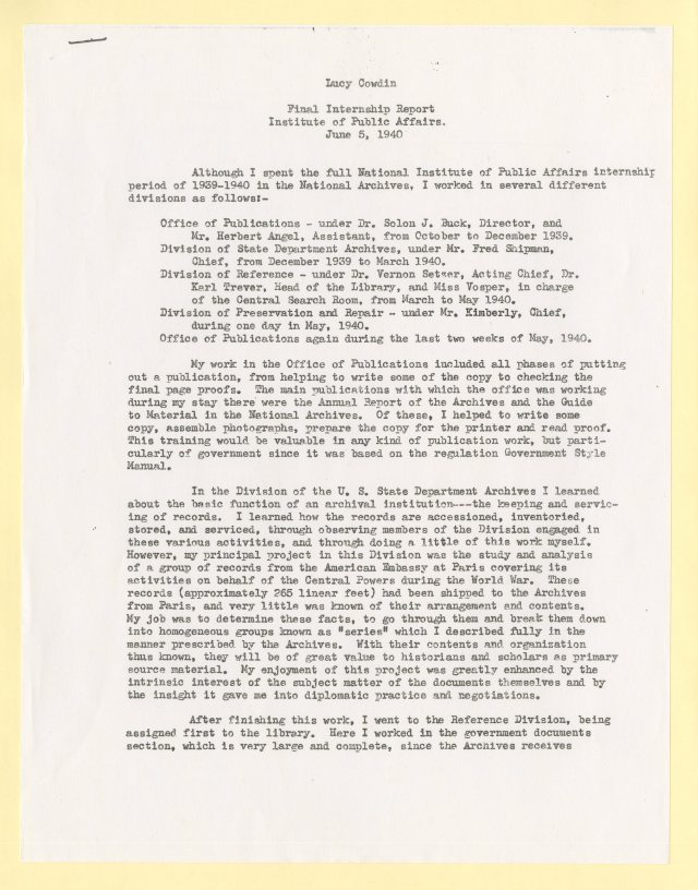 Lucy Cowdin Maisel Donation - Lucy's Final Report, page 1 - xerox