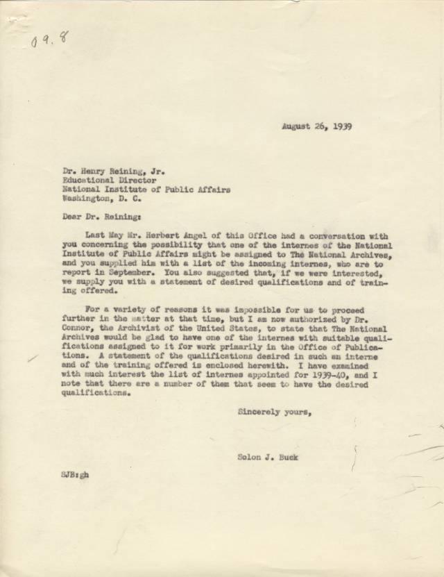 NA Response to NIPA, Aug. 1939, p. 1 - RG 64, A1 1, file 77.6 Internships, box 40