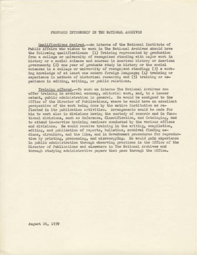 NA Response to NIPA, Aug. 1939, p. 2 - RG 64, A1 1, file 77.6 Internships, box 40