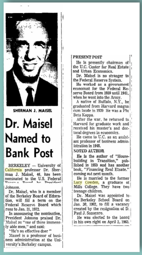 Sherman Maisel Named to Fed - Oakland Tribune, April 2, 1965