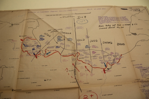 Situation of European Theatre Ground Operations map from Operation OVERLORD in June 1944. (FDR Library, National Archives)