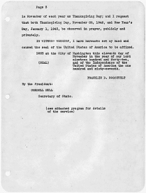 President Franklin Roosevelt's Thanksgiving Proclamation, November 26, 1942. (National Archives Identifier 198021)