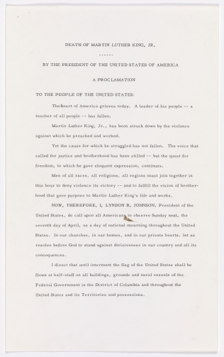 Presidential Proclamation 3839 by President Lyndon B. Johnson designating Sunday, April 7, 1968, as a day of national mourning for Martin Luther King, Jr., April 5, 1968. (National Archives Identifier 299993)