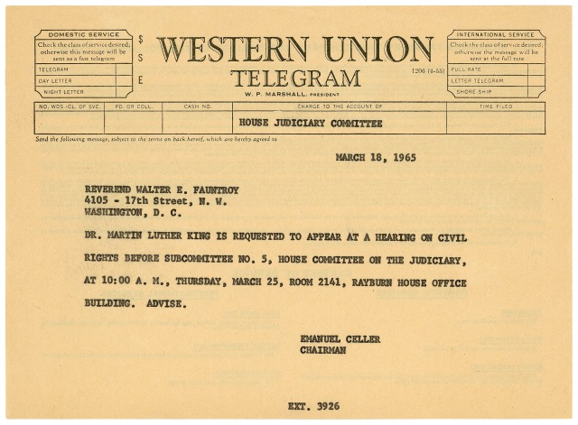 Telegram_requesting_Martin_Luther_King_testify_on_Voting_Rights_Act_18-Mar-1965