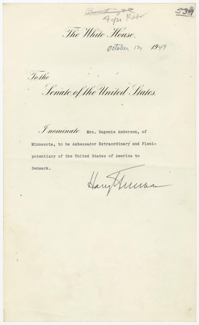 Truman's nomination of Eugenie Anderson to be Ambassador to Denm