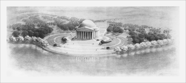 Sketch of the Jefferson Memorial, Oblique Aerial View., ca. 1940. (Records of the National Park Service, National Archives)