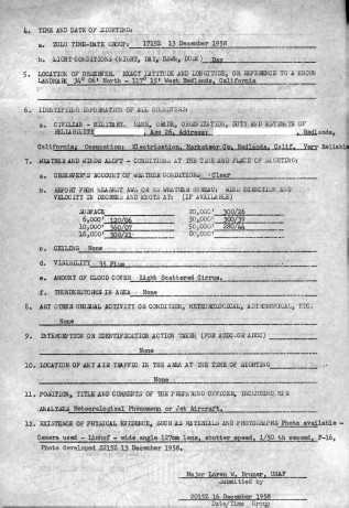 UFO Worksheet, 16 December 1958 (National Archives Identifier 595175)